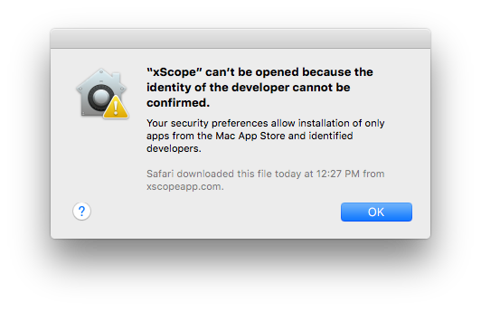 xScope download blocked by Gatekeeper