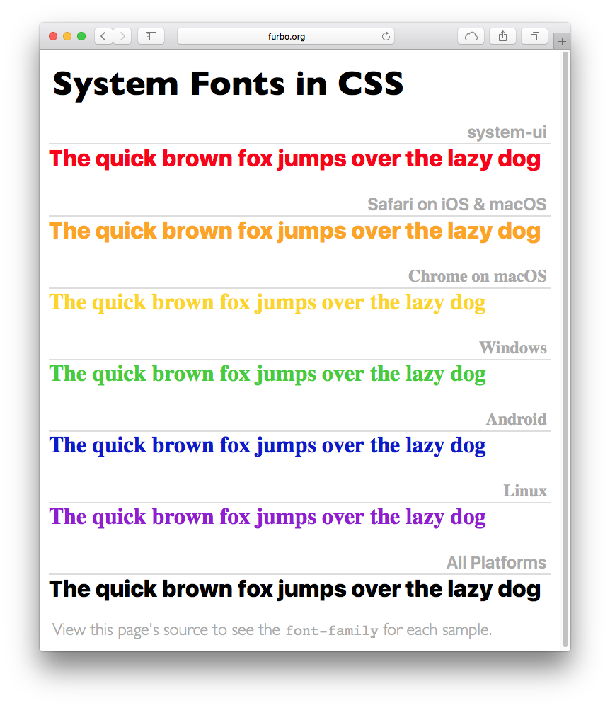 System Fonts in CSS • furbo org