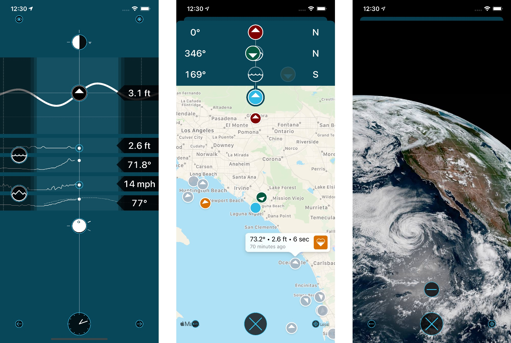 Screenshots of Waterscope showing the home screen graphs, a map view with sea and land weather conditions, and a satellite view of California.